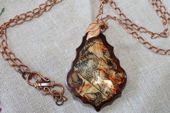 Embellished Chandelier Crystal on a Copper Chain, Alcohol ink, rubber stamp, Copper chain and bail, Birthday gift, Christmas gift,Autumn