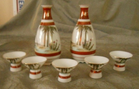 Vintage Mid Century Rare and Fabulous Saki Set of 7 -  Hand Painted Genuine Kutani Fine China 1950's