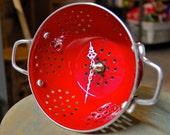 Red Colander Clock, Repurposed Vintage Style Porcelain Enamel Kitchenware - Mothers Day Special