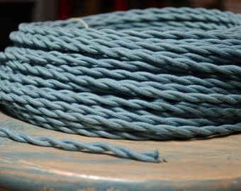 6 Feet: Blue Slate Twisted Cloth Covered Wire, Vintage Style Cloth Lamp Cord, For Hanging Pendants, Trouble Lights etc