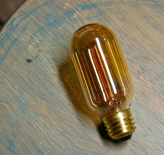 TWO Radio Style Light Bulbs, Smoked Amber Vintage Bulbs Reproduction, Edison Filament - 30 Watts, Squirrel Cage Filament