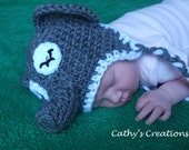 Handmade Crochet Baby Newborn Elephant Hat Photoprop Made To Order