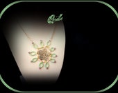Necklace  tatted lace green and pink Flower