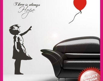Banksy girl with heart balloon vinyl wall decal