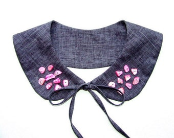 Collar peter pan, gray, pink, embroidery