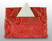 Brilliant red brocade pocket tissue holder
