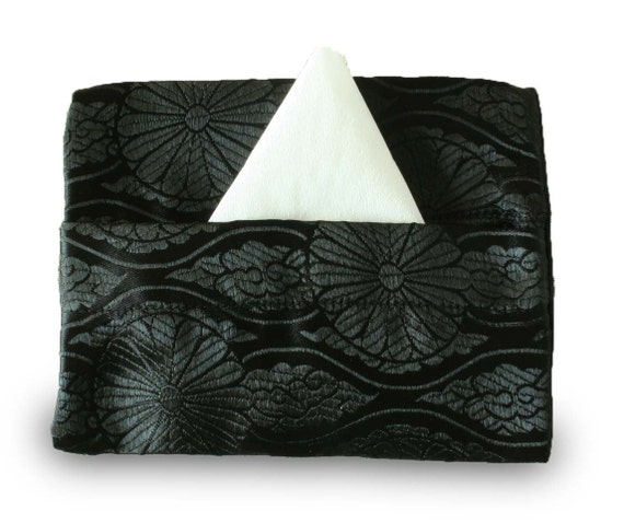 Gothic black brocade pocket tissue holder