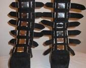Vintage 90's Club Kid Cyber goth punk platform boots mirrored panel buckles