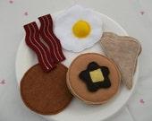 Felt Food - 10 piece Breakfast Platter  with Pancakes Felt Play Food Set