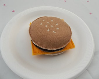 Felt Food - Plain Cheese Burger Felt Play Food