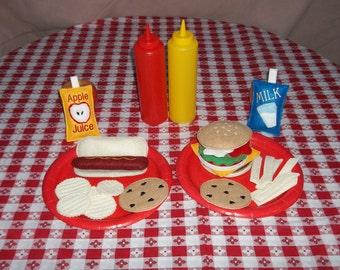 Felt Food - Picnic for 2, Hamburger and Hotdog Meals Felt Play Food Set