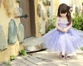 Rapunzel Tutu. Hand crochet top with pink corset strings. Barefoot sandals. Purple flower clip.