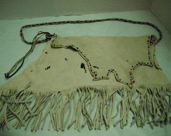 hand-beaded,tanned deer hide fringed bag