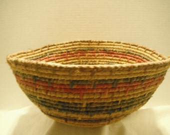 Coiled seagrass and raffia basket