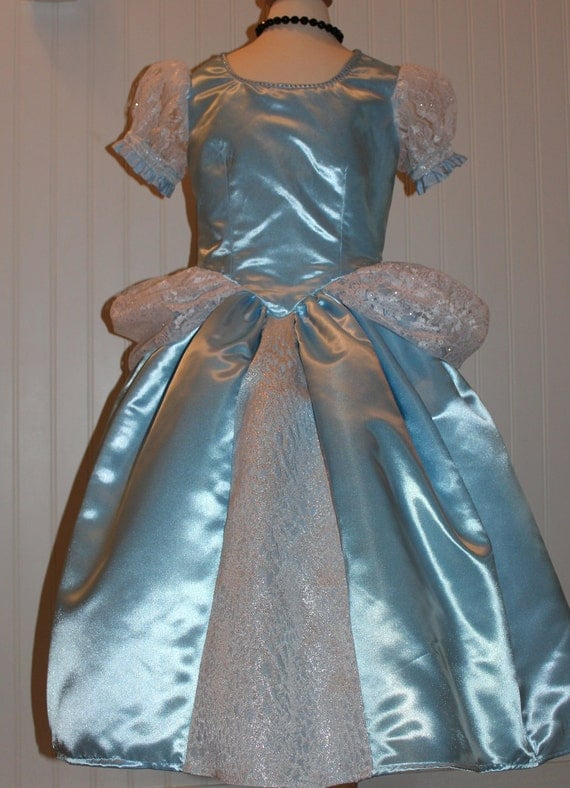 Blue satin Cinderella inspired ball gown Size 5