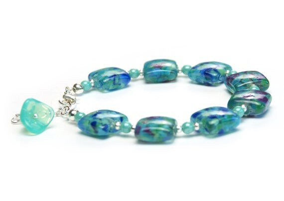 Ocean Blue and Violet Beaded Bracelet with Turquoise Lily Charm - Lampwork Glass Beads - Handmade Jewelry