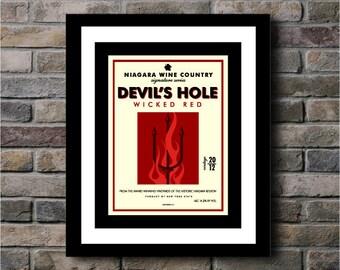 Devil's Hole Wicked Red Niagara Wine Region Wine Label Art Series Digital Print - 11x14