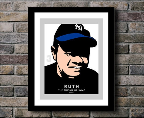 Babe Ruth New York Yankees Baseball Team Digital Print - 11x14