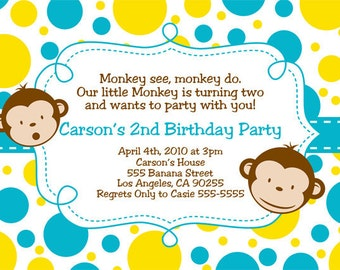 Mod Monkey Invitation