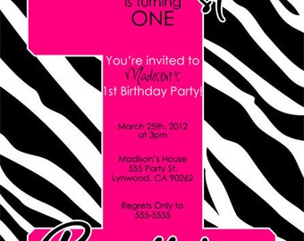 Zebra 1st Birthday Invitation