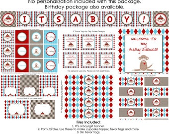 Sock Monkey Printable Party Package