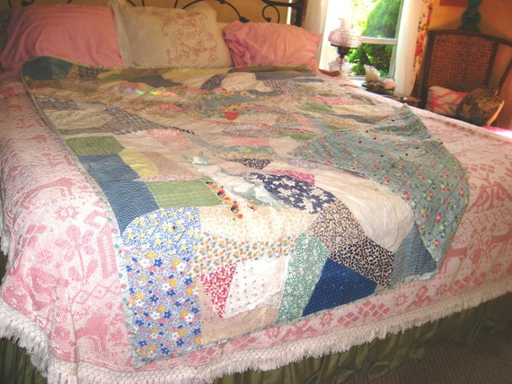 Vintage1940's Crazy Quilt Antique Quilt Edwardian Bedding