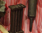 Antique Primitive Metal Candle Tube Mold and Funnel