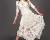 White exclusive crochet dress with crochet bolero top