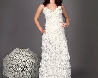 Exclusive crochet wedding dress with ruffles - the finished product in a single original