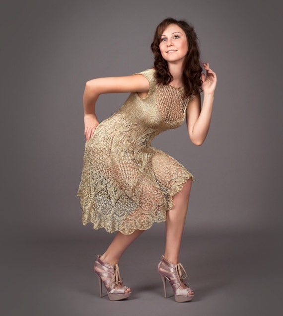 Golden metallized exclusive knitted dress