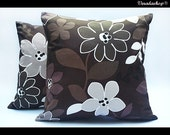 Brownie Flowers:  SET OF TWO 16x16 inch Handmade Decorative pillow Covers-chocolate brown-  Cotton fabric - Make to Order -