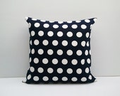 Dark Navy Blue Dots : ONE 18x18 inch Handmade Decorative pillow Covers- Canvas fabric - Ready to Ship-
