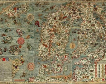 Map, World map, Antique world map, World map poster, Old World Map, Carta Marina, 17