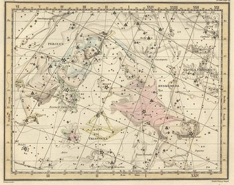 Andromeda, Antique map of the Moon, ancient maps, constellation, galaxy, 30