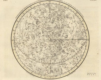 Northern Hemisphere, Galaxy, Antique map of the Moon, Antique world maps, jamieson plate 65