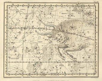 Constellation of the Taurus, Galaxy, Antique map of the Moon, Antique world maps, ancient maps, 69