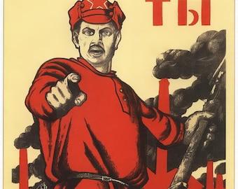 Propaganda poster,  Vintage Soviet propaganda poster, playbill of the USSR, art print, 20