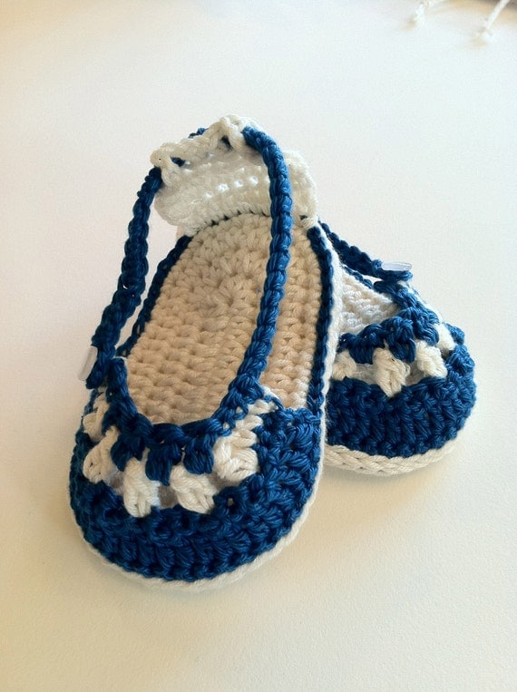 Crochet Pattern for Baby Booties & Headband, Nautical Sandals and Headband Set for Baby Girl, PDF 12-029 INSTANT DOWNLOAD