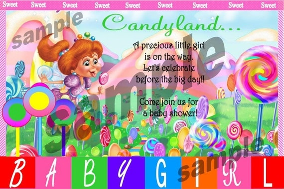 Items Similar To CandyLand Baby Shower Invitation DIY Printable ( Thank You  Cards) On Etsy