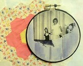 "Creepy purple vintage photo - ""The Doll"" - circular fiber art"