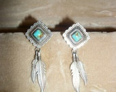 fantastic vintage navajo sterling silver and turquoise peirced earrings
