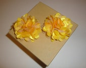 Yellow Satin and Mesh Flower Clip