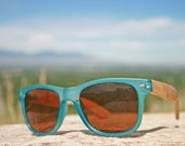 Unique Handmade Indie Hipster Vintage Retro Unisex Wayfarer Ray-Ban Style Blue Turquoise Wooden Sunglasses. Made with Bamboo