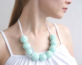 50% SALE Mint white long necklace of a thread cotton flower for women lace textile natural pastel free shipping