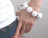 50% SALE White red beaded handmade balls bracelete thread cotton for women lace textile natural christmas
