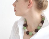 Green brown beige chunky balls beaded necklace thread cotton for women fiber natural long rustic woodland minimalism
