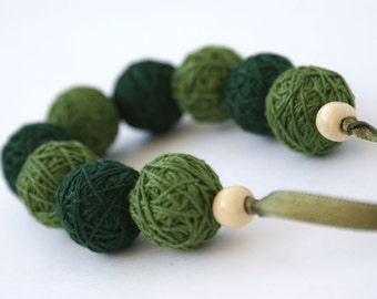 Green bracelete of a thread cotton for women lace textile wooden beads natural woodland gift idea fall fashion