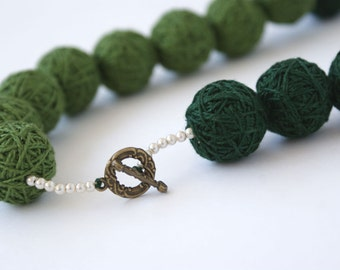 Green long beads necklace of a thread cotton for women lace textile fiber wooden beads natural togl