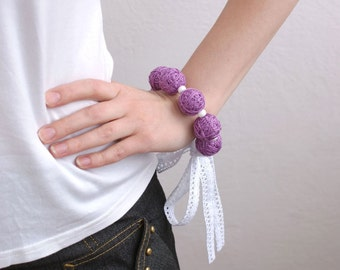 Lilac bracelete of a thread cotton for women lace textile natural white magenta violet purple