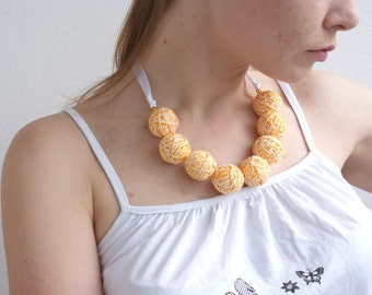 50% SALE Yellow white fabric necklace of a thread cotton for women lace textile natural pastel melange free shipping